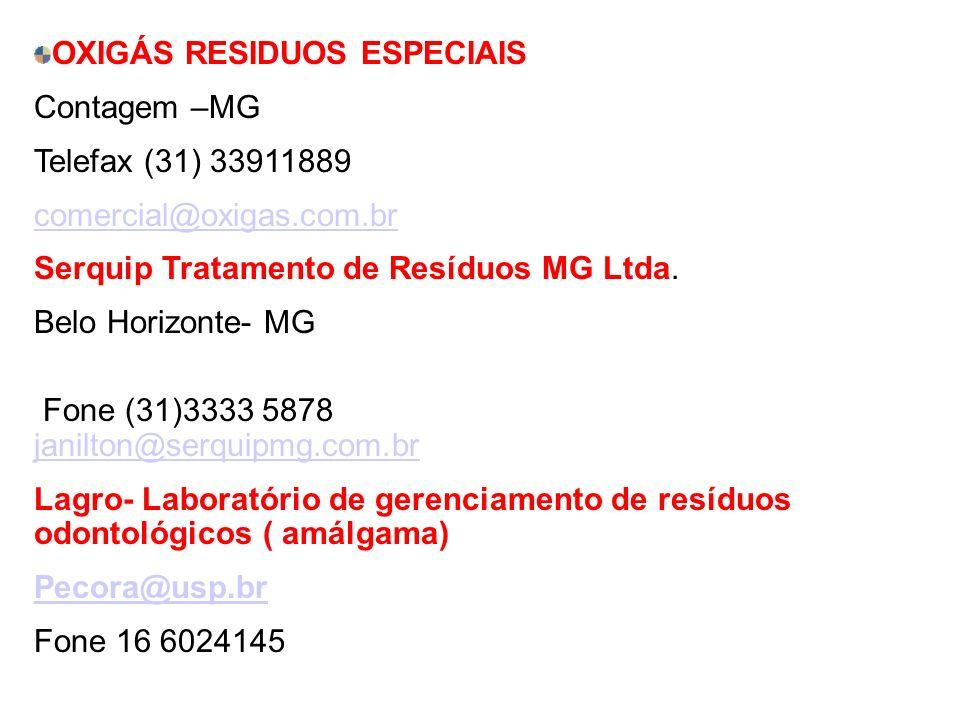 OXIGÁS RESIDUOS ESPECIAIS Contagem –MG Telefax (31) 33911889 comercial@oxigas.com.br Serquip Tratamento de Resíduos MG Ltda. Belo Horizonte- MG Fone (