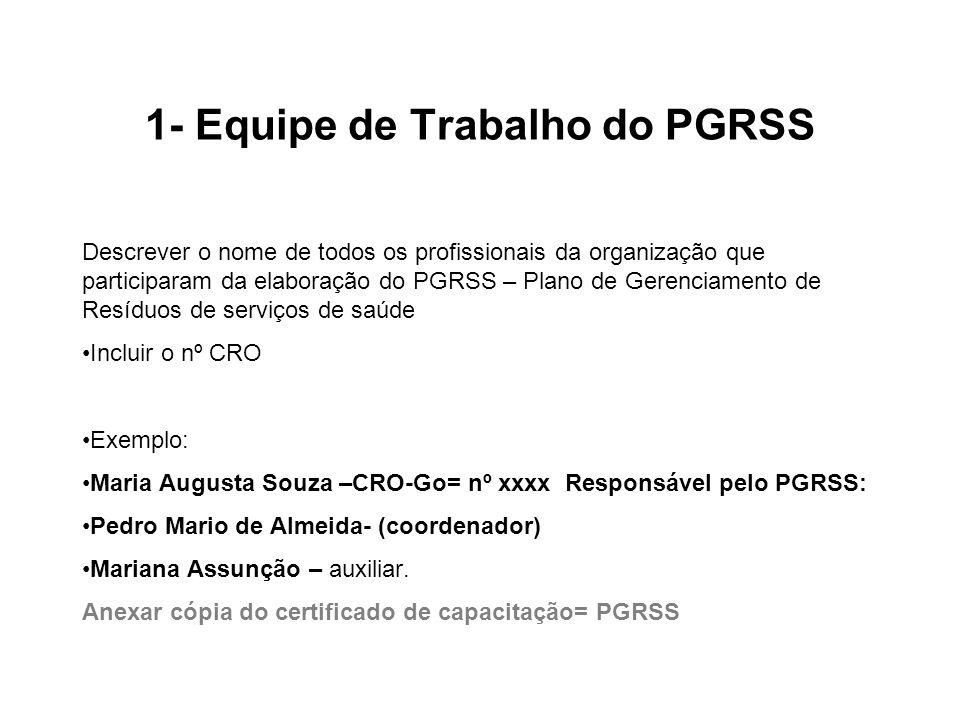 1- Equipe de Trabalho do PGRSS Descrever o nome de todos os profissionais da organização que participaram da elaboração do PGRSS – Plano de Gerenciame