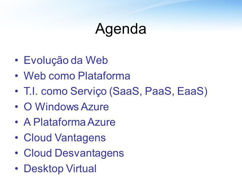 Agenda Evolução da Web Web como Plataforma T.I. como Serviço (SaaS, PaaS, EaaS) O Windows Azure A Plataforma Azure Cloud Vantagens Cloud Desvantagens