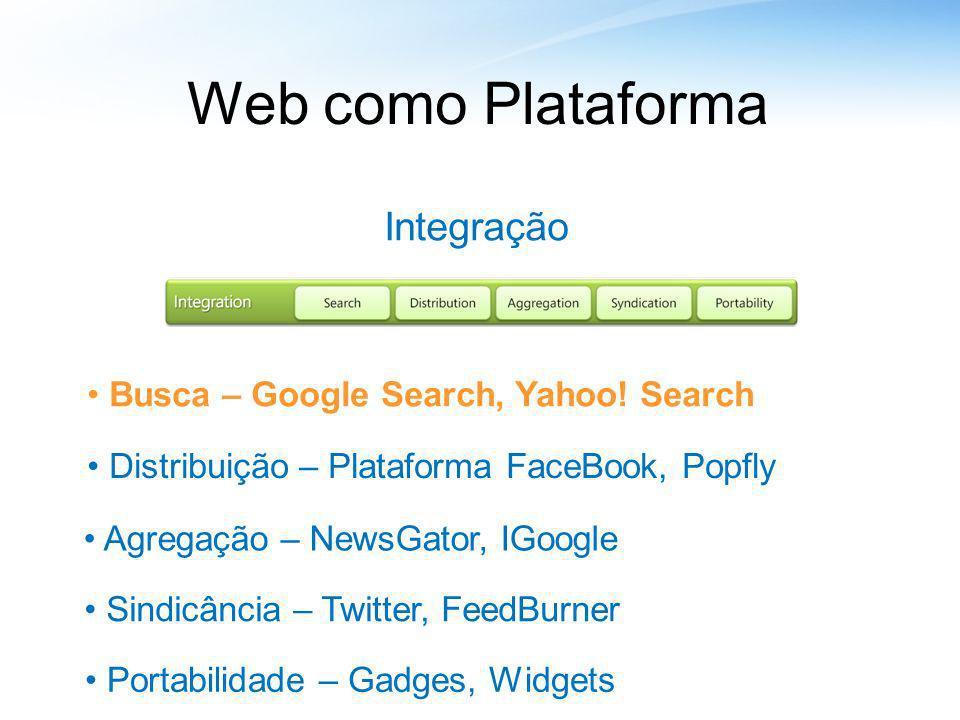 Web como Plataforma Integração Busca – Google Search, Yahoo! Search Distribuição – Plataforma FaceBook, Popfly Agregação – NewsGator, IGoogle Sindicân