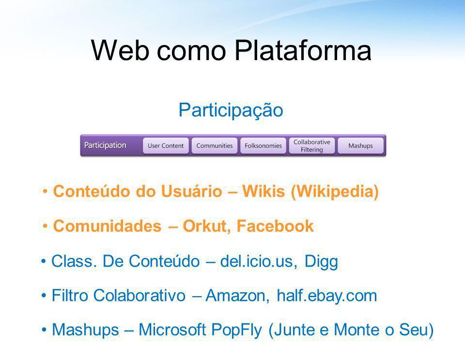 Web como Plataforma Participação Conteúdo do Usuário – Wikis (Wikipedia) Comunidades – Orkut, Facebook Class. De Conteúdo – del.icio.us, Digg Filtro C