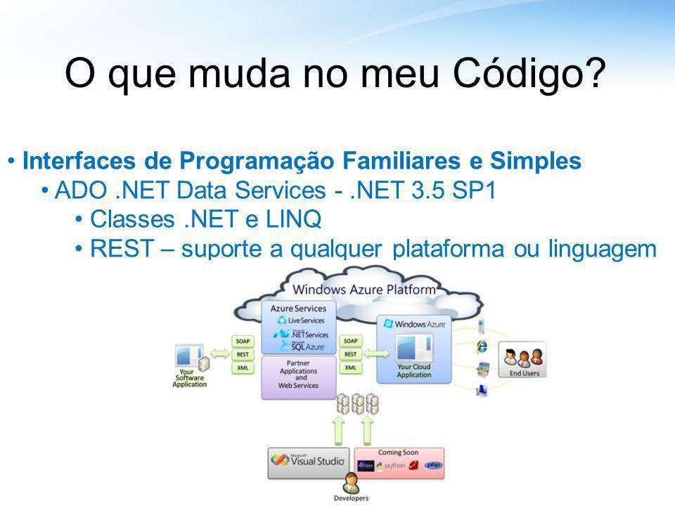 O que muda no meu Código? Interfaces de Programação Familiares e Simples ADO.NET Data Services -.NET 3.5 SP1 Classes.NET e LINQ REST – suporte a qualq