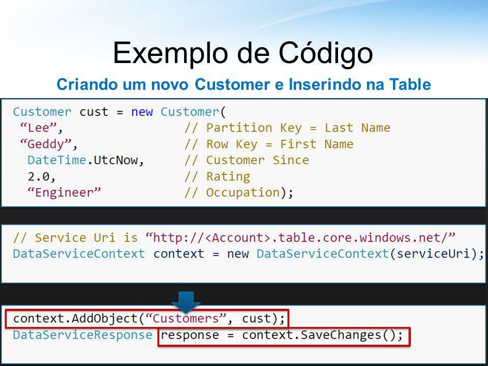 Exemplo de Código Criando um novo Customer e Inserindo na Table