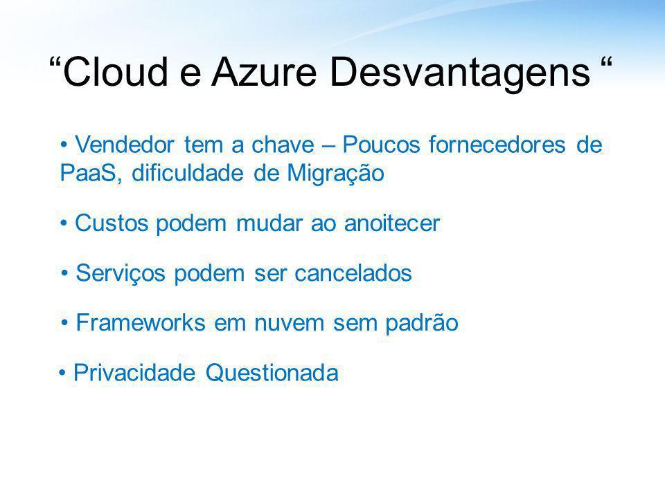 Cloud e Azure Desvantagens Serviços podem ser cancelados Frameworks em nuvem sem padrão Privacidade Questionada Custos podem mudar ao anoitecer Vended