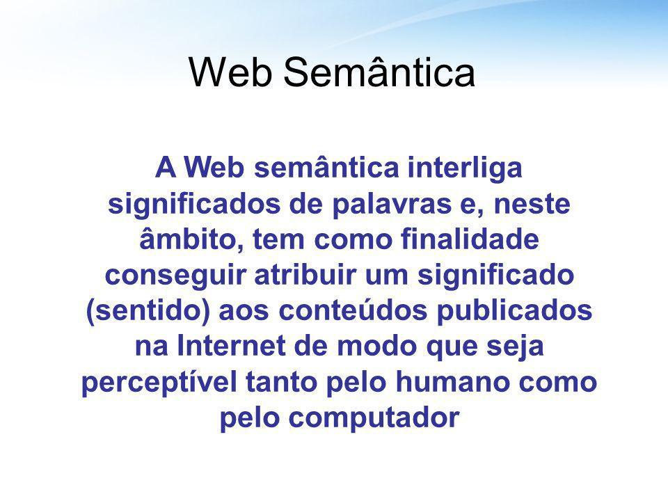 Web Semântica A Web semântica interliga significados de palavras e, neste âmbito, tem como finalidade conseguir atribuir um significado (sentido) aos