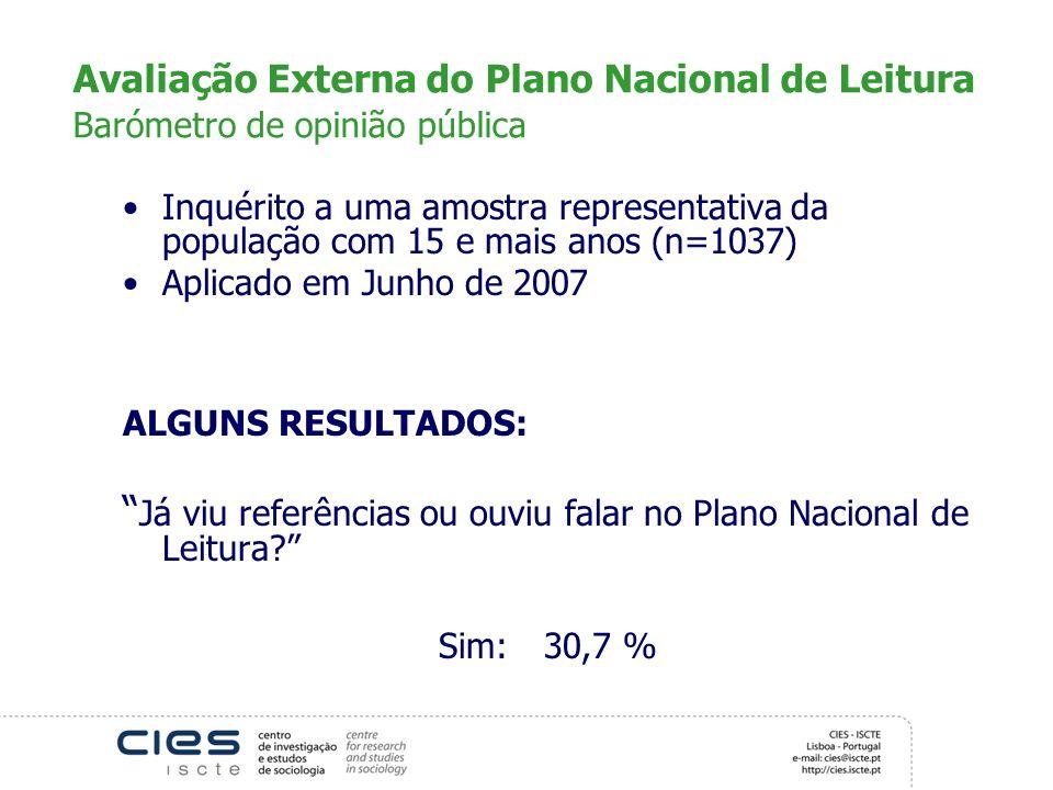 Avaliação Externa do Plano Nacional de Leitura Barómetro de opinião pública Inquérito a uma amostra representativa da população com 15 e mais anos (n=
