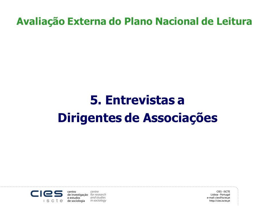 Avaliação Externa do Plano Nacional de Leitura 5. Entrevistas a Dirigentes de Associações