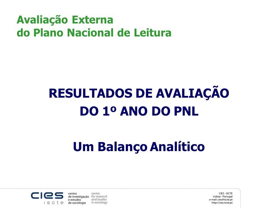 Avaliação Externa do Plano Nacional de Leitura RESULTADOS DE AVALIAÇÃO DO 1º ANO DO PNL Um Balanço Analítico