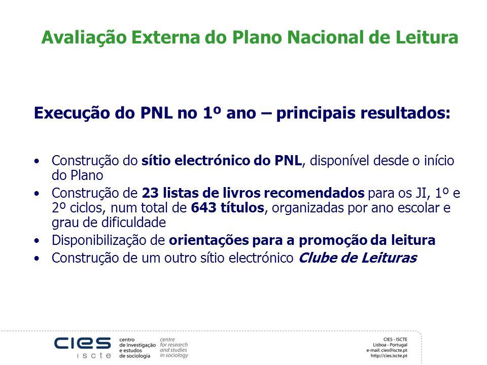 Avaliação Externa do Plano Nacional de Leitura Execução do PNL no 1º ano – principais resultados: Construção do sítio electrónico do PNL, disponível d