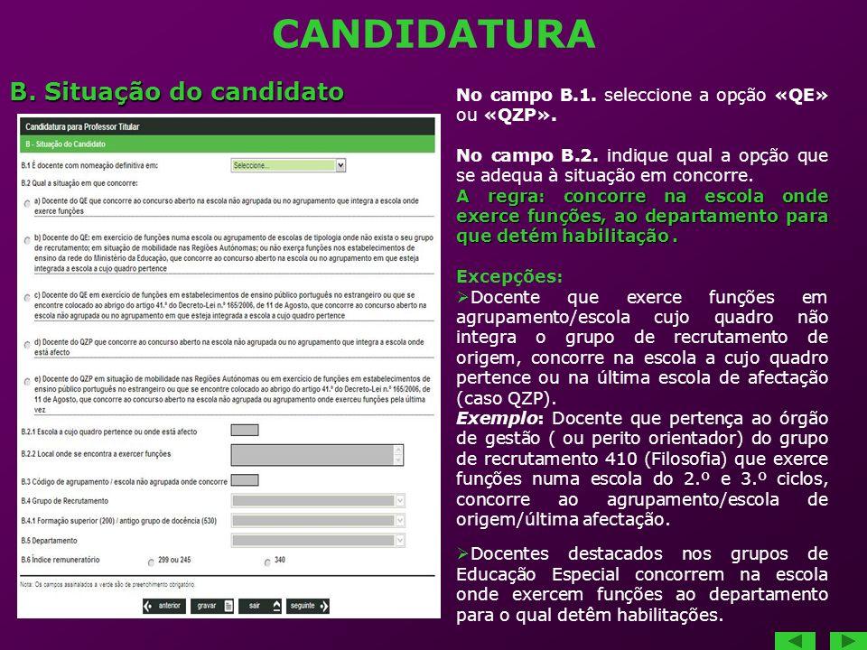 CANDIDATURA B. Situação do candidato No campo B.1. seleccione a opção «QE» ou «QZP». No campo B.2. indique qual a opção que se adequa à situação em co
