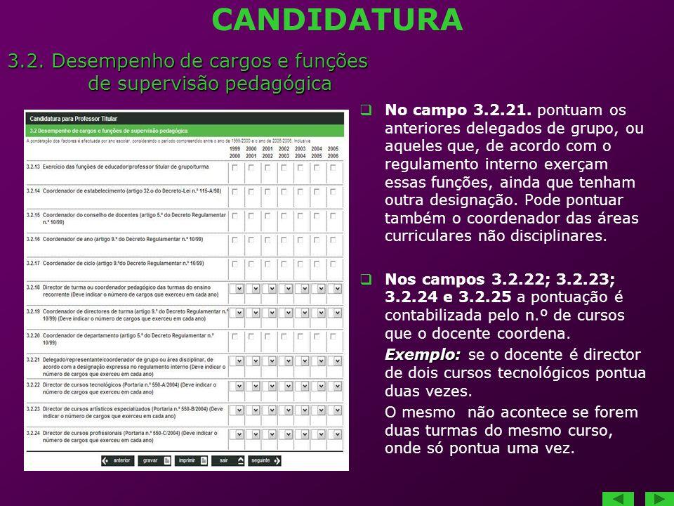 CANDIDATURA No campo 3.2.21. pontuam os anteriores delegados de grupo, ou aqueles que, de acordo com o regulamento interno exerçam essas funções, aind