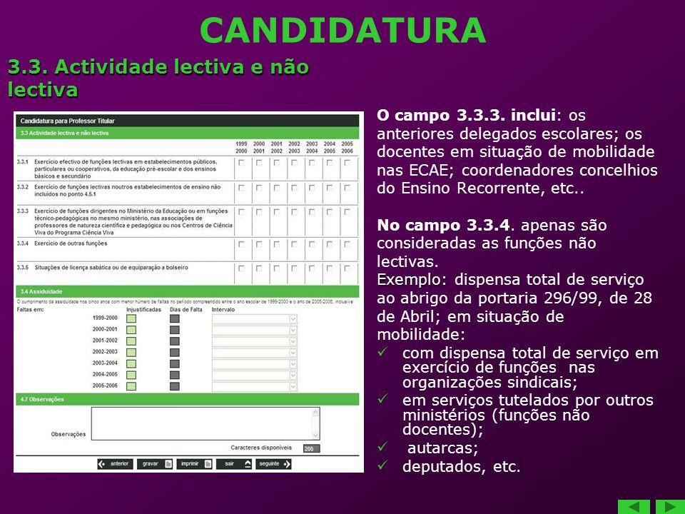 CANDIDATURA O campo 3.3.3.