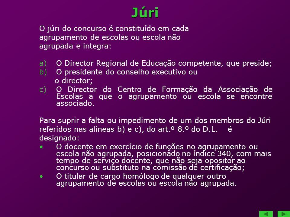 Júri O júri do concurso é constituído em cada agrupamento de escolas ou escola não agrupada e integra: a)O Director Regional de Educação competente, q