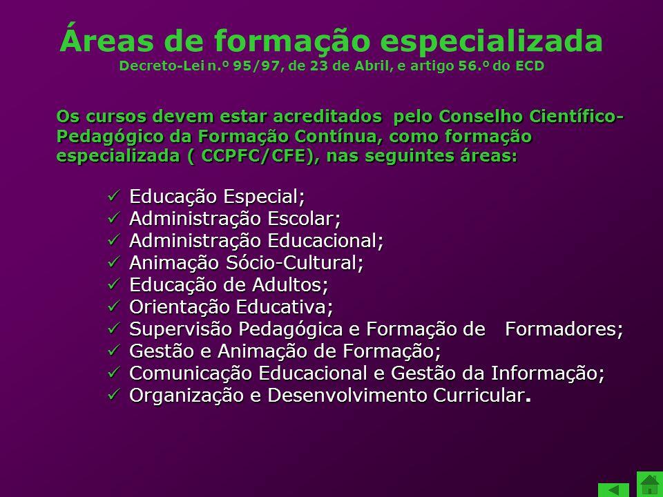 Áreas de formação especializada Decreto-Lei n.º 95/97, de 23 de Abril, e artigo 56.º do ECD Educação Especial; Educação Especial; Administração Escola