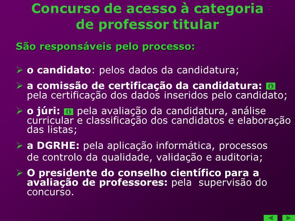Concurso de acesso à categoria de professor titular São responsáveis pelo processo: o candidato: pelos dados da candidatura; a comissão de certificaçã