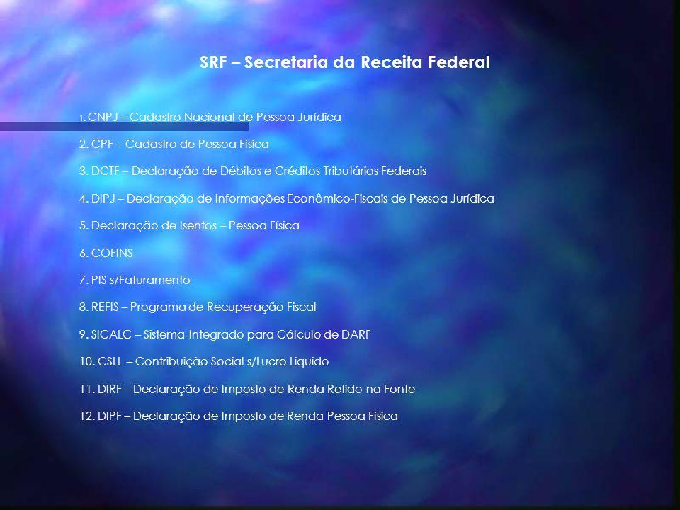 SRF – Secretaria da Receita Federal 1.CNPJ – Cadastro Nacional de Pessoa Jurídica 2.