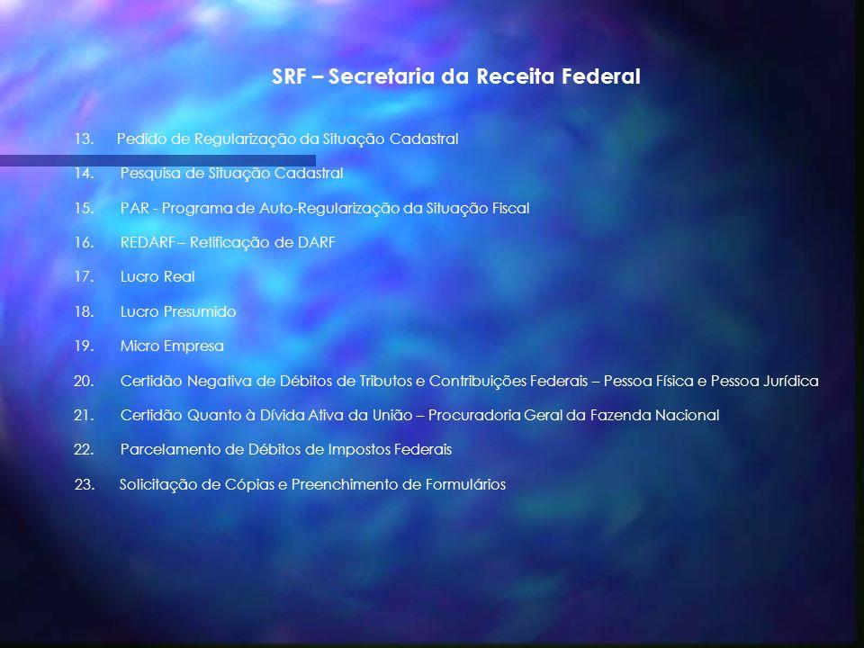 SRF – Secretaria da Receita Federal 1. CNPJ – Cadastro Nacional de Pessoa Jurídica 2. CPF – Cadastro de Pessoa Física 3. DCTF – Declaração de Débitos