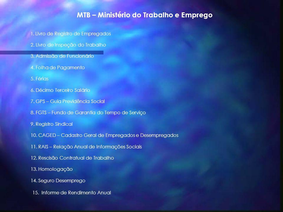 MTB – Ministério do Trabalho e Emprego 1.Livro de Registro de Empregados 2.