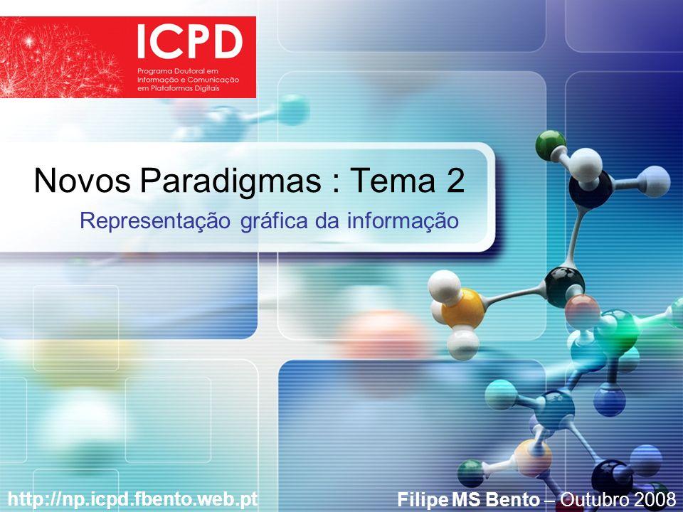 LOGO Novos Paradigmas : Tema 2 http://np.icpd.fbento.web.pt Representação gráfica da informação Filipe MS Bento – Outubro 2008