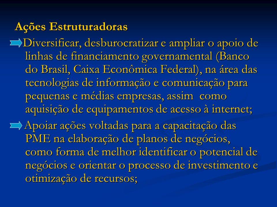 Ações Estruturadoras Diversificar, desburocratizar e ampliar o apoio de linhas de financiamento governamental (Banco do Brasil, Caixa Econômica Federa