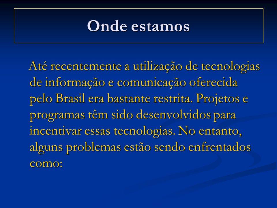 Onde estamos Até recentemente a utilização de tecnologias de informação e comunicação oferecida pelo Brasil era bastante restrita. Projetos e programa