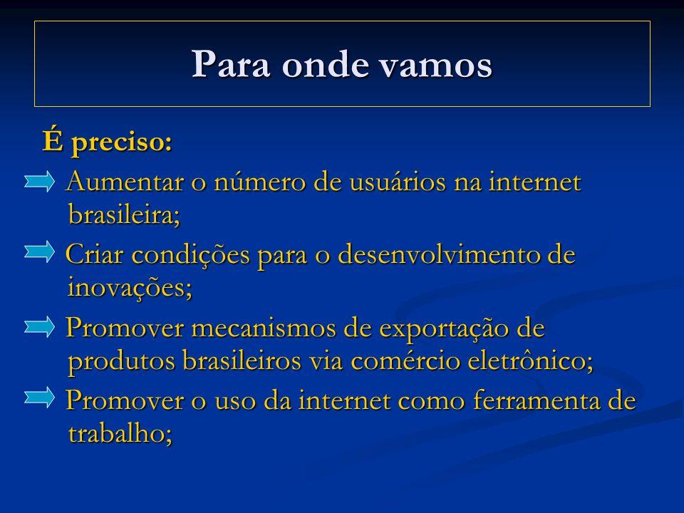 Para onde vamos É preciso: Aumentar o número de usuários na internet brasileira; Aumentar o número de usuários na internet brasileira; Criar condições