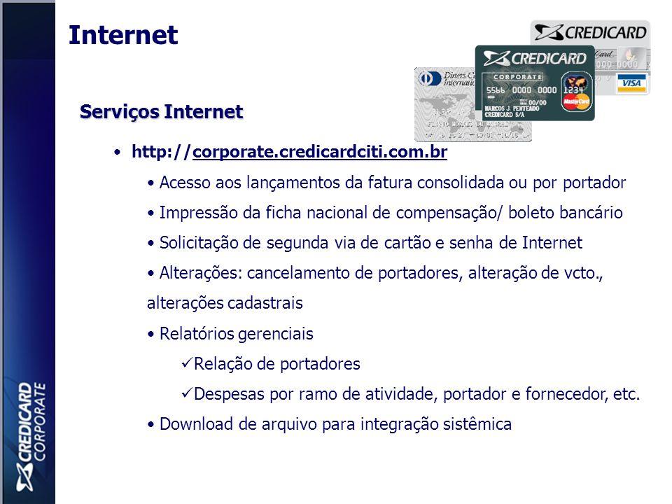 Serviços Internet http://corporate.credicardciti.com.br Acesso aos lançamentos da fatura consolidada ou por portador Impressão da ficha nacional de co