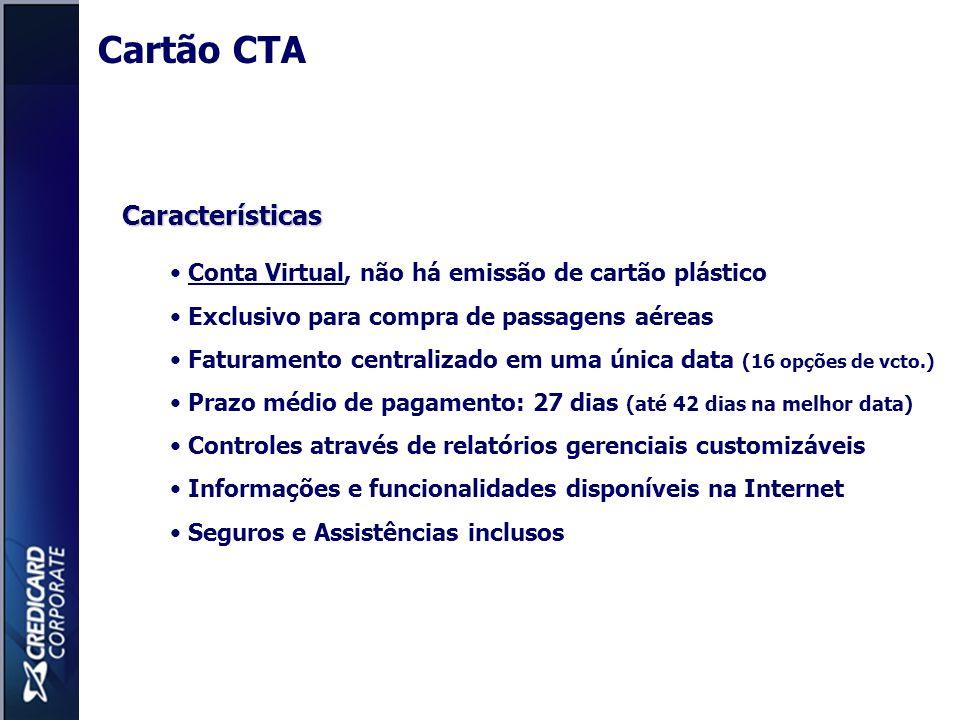 Características Conta Virtual, não há emissão de cartão plástico Exclusivo para compra de passagens aéreas Faturamento centralizado em uma única data