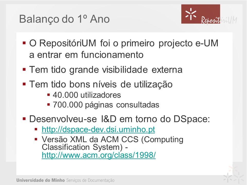 Balanço do 1º Ano O RepositóriUM foi o primeiro projecto e-UM a entrar em funcionamento Tem tido grande visibilidade externa Tem tido bons níveis de utilização 40.000 utilizadores 700.000 páginas consultadas Desenvolveu-se I&D em torno do DSpace: http://dspace-dev.dsi.uminho.pt Versão XML da ACM CCS (Computing Classification System) - http://www.acm.org/class/1998/ http://www.acm.org/class/1998/