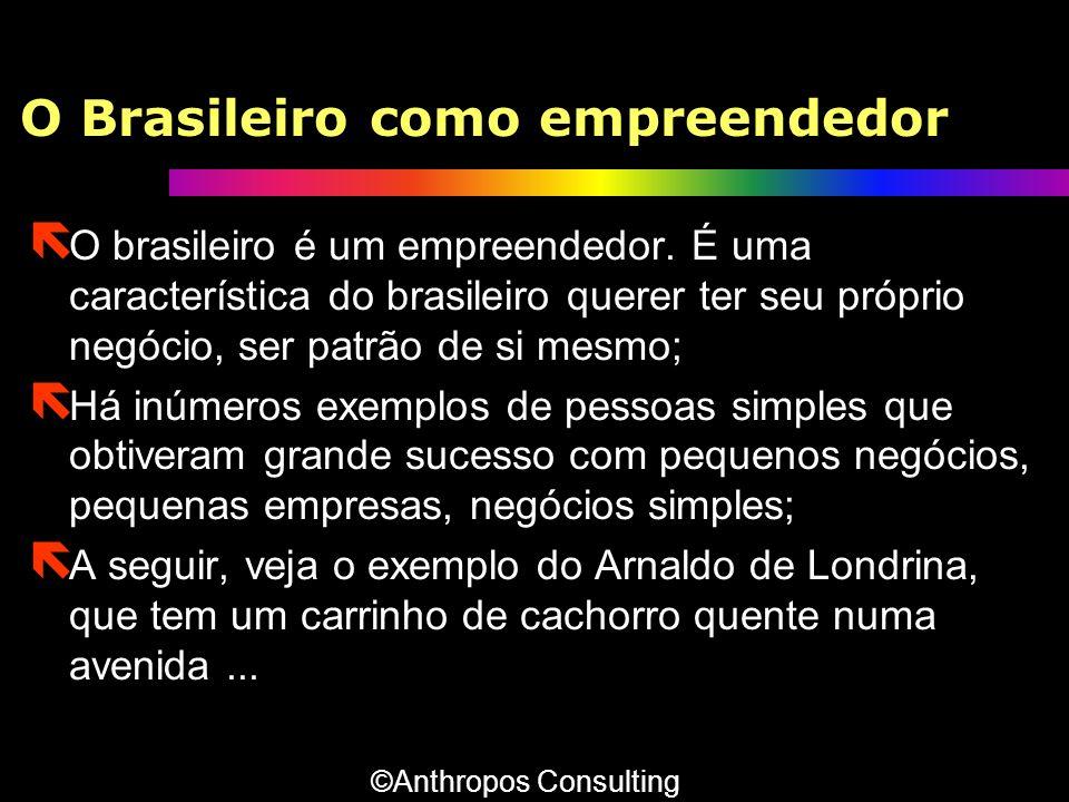 O Brasileiro como empreendedor ë O brasileiro é um empreendedor. É uma característica do brasileiro querer ter seu próprio negócio, ser patrão de si m