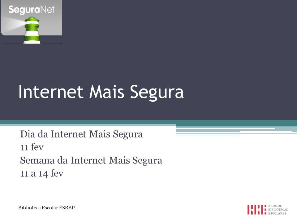 Recursos: documentos diversos Manual: Tu e Internet - publicação sobre o (ab)uso, crime e denúncia http://www.pgr.pt/grupo_soltas/Actualidades/2013/ Tu_%20e_a_Internet_Brochura.pdfhttp://www.pgr.pt/grupo_soltas/Actualidades/2013/ Tu_%20e_a_Internet_Brochura.pdf Outros recursos: http://www.seguranet.pt/repositorymodule/category _view/id/2/ http://www.seguranet.pt/repositorymodule/category _view/id/2/ Agrupamento de Escolas Rafael Bordalo Pinheiro Biblioteca Escolar ESRBP 22