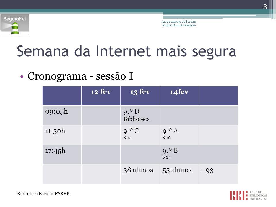 Cronograma - sessão II Agrupamento de Escolas Rafael Bordalo Pinheiro 8 maio9 maio 09:05h9.º D 11:50h9.º C9.º A 13:35h9.º B 38 alunos55 alunos= 93 Semana da Internet mais segura Biblioteca Escolar ESRBP 4
