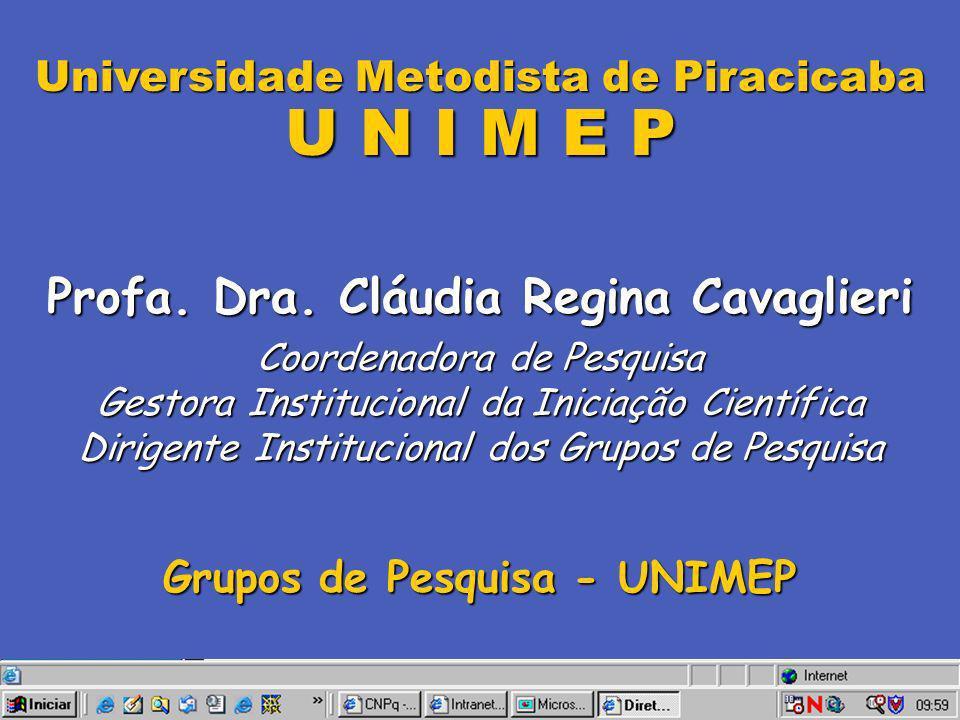 Universidade Metodista de Piracicaba U N I M E P Profa. Dra. Cláudia Regina Cavaglieri Coordenadora de Pesquisa Gestora Institucional da Iniciação Cie