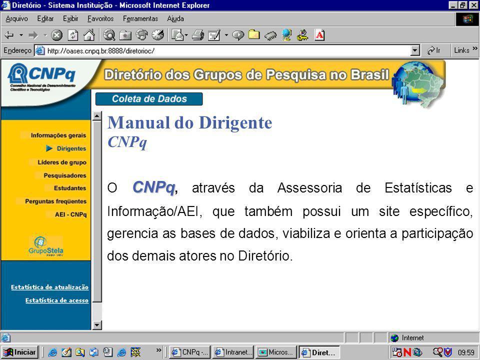 Manual do Dirigente CNPq CNPq O CNPq, através da Assessoria de Estatísticas e Informação/AEI, que também possui um site específico, gerencia as bases