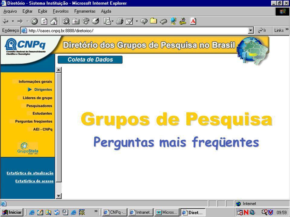 Site de Coleta/atualização do Diretório dos Grupos de Pesquisa no Brasil Questões Gerais Dirigentes Institucionais Grupos de Pesquisa Líderes de Grupo Pesquisadores Estudantes Linhas de Pesquisa Produção Científica, Tecnológica e Artística Currículo Lattes x Diretório