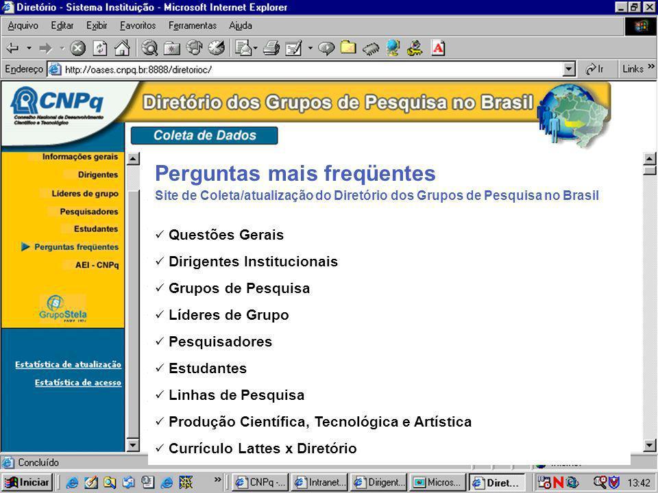 Site de Coleta/atualização do Diretório dos Grupos de Pesquisa no Brasil Questões Gerais Dirigentes Institucionais Grupos de Pesquisa Líderes de Grupo