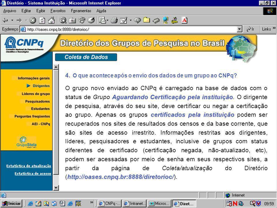4. O que acontece após o envio dos dados de um grupo ao CNPq? Aguardando Certificação pela instituição certificados pela instituição http://oases.cnpq