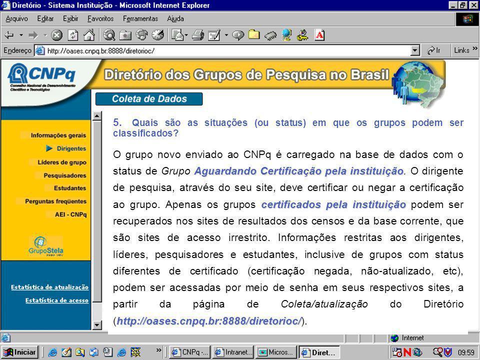 5. Quais são as situações (ou status) em que os grupos podem ser classificados? Aguardando Certificação pela instituição certificados pela instituição