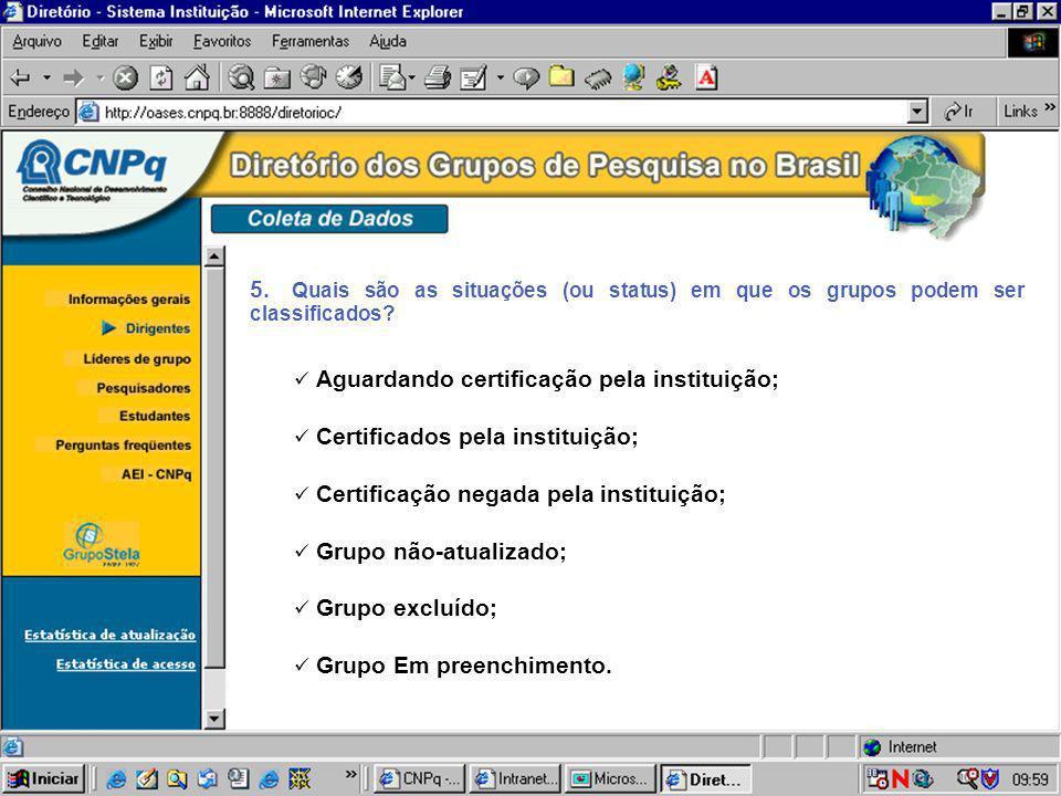 5. Quais são as situações (ou status) em que os grupos podem ser classificados? Aguardando certificação pela instituição; Certificados pela instituiçã