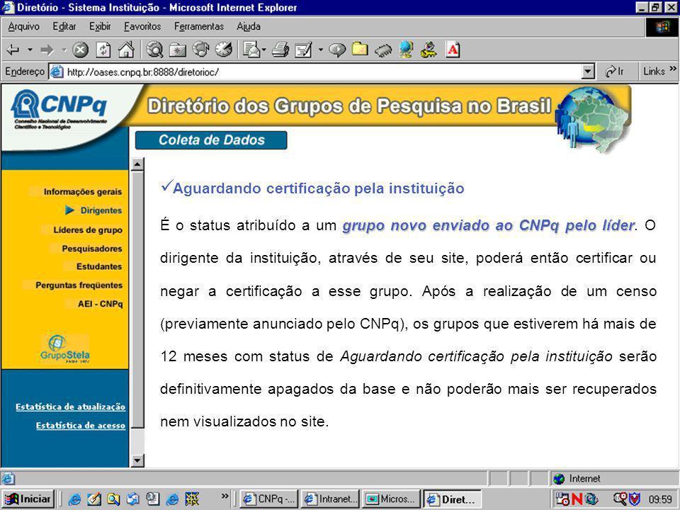 Aguardando certificação pela instituição grupo novo enviado ao CNPq pelo líder É o status atribuído a um grupo novo enviado ao CNPq pelo líder. O diri