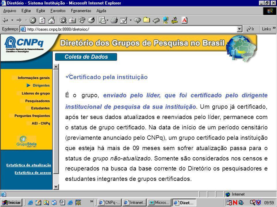 Certificado pela instituição enviado pelo líder, que foi certificado pelo dirigente institucional de pesquisa da sua instituição É o grupo, enviado pe
