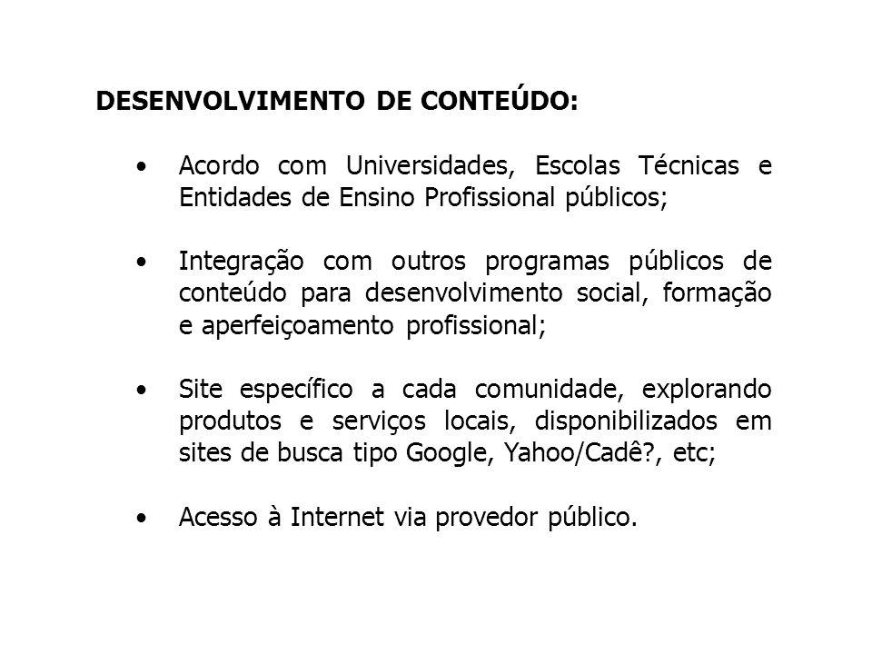 DESENVOLVIMENTO DE CONTEÚDO: Acordo com Universidades, Escolas Técnicas e Entidades de Ensino Profissional públicos; Integração com outros programas p