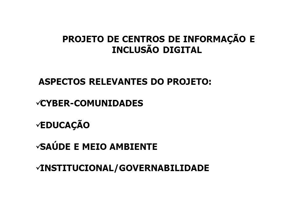 PROJETO DE CENTROS DE INFORMAÇÃO E INCLUSÃO DIGITAL ASPECTOS RELEVANTES DO PROJETO: CYBER-COMUNIDADES EDUCAÇÃO SAÚDE E MEIO AMBIENTE INSTITUCIONAL/GOV