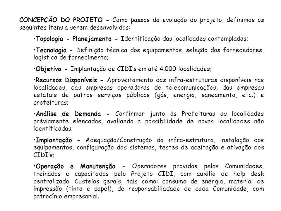 CONCEPÇÃO DO PROJETO - Como passos da evolução do projeto, definimos os seguintes ítens a serem desenvolvidos: Topologia - Planejamento - Identificaçã