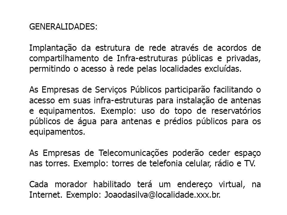 GENERALIDADES: Implantação da estrutura de rede através de acordos de compartilhamento de Infra-estruturas públicas e privadas, permitindo o acesso à