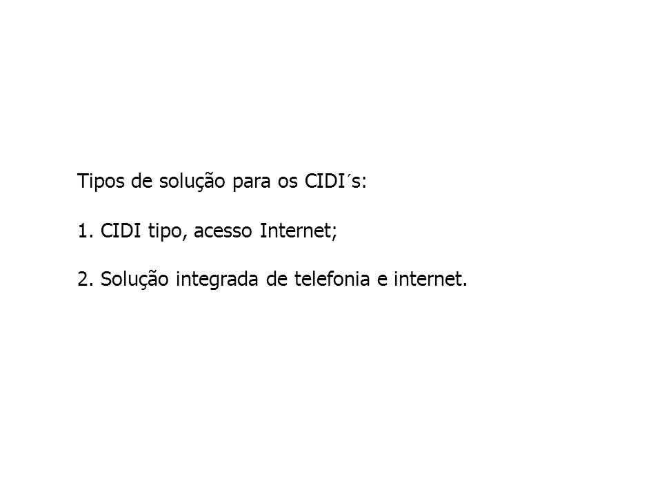 Tipos de solução para os CIDI´s: 1. CIDI tipo, acesso Internet; 2. Solução integrada de telefonia e internet.