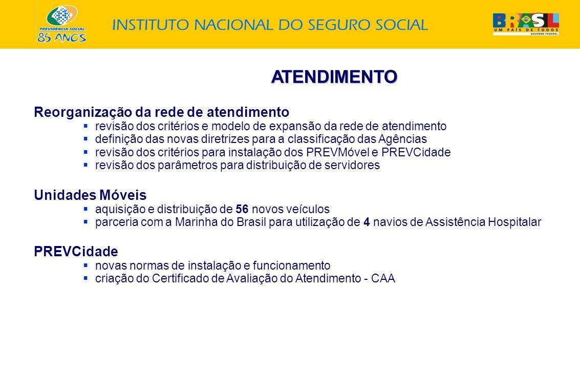 ATENDIMENTO Reorganização da rede de atendimento revisão dos critérios e modelo de expansão da rede de atendimento definição das novas diretrizes para a classificação das Agências revisão dos critérios para instalação dos PREVMóvel e PREVCidade revisão dos parâmetros para distribuição de servidores Unidades Móveis aquisição e distribuição de 56 novos veículos parceria com a Marinha do Brasil para utilização de 4 navios de Assistência Hospitalar PREVCidade novas normas de instalação e funcionamento criação do Certificado de Avaliação do Atendimento - CAA