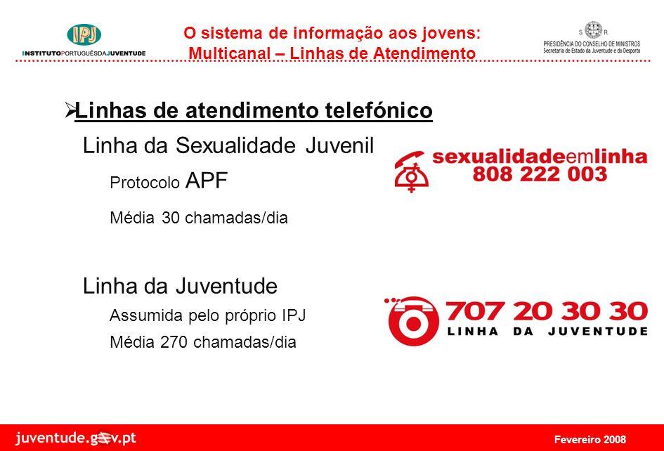 Fevereiro 2008 O sistema de informação aos jovens: Multicanal – Linhas de Atendimento Linhas de atendimento telefónico Linha da Sexualidade Juvenil Protocolo APF Média 30 chamadas/dia Linha da Juventude Assumida pelo próprio IPJ Média 270 chamadas/dia