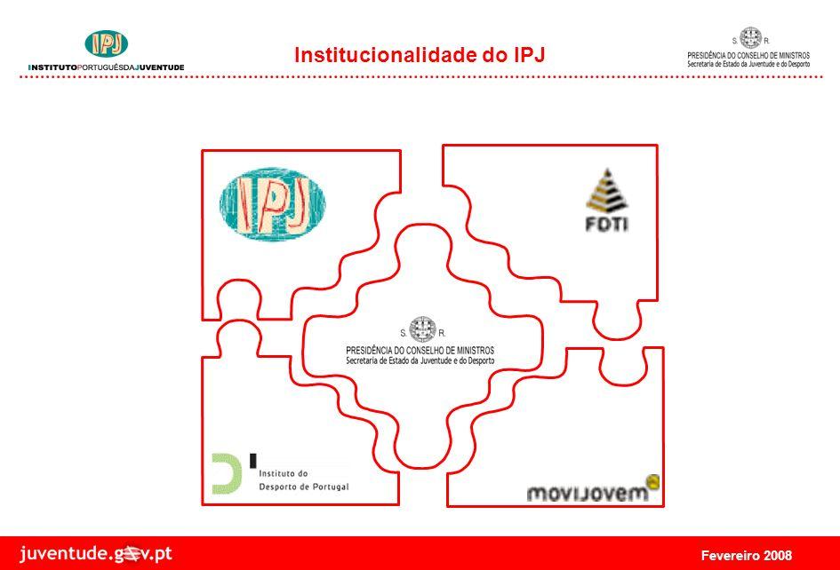 Fevereiro 2008 Missão do IPJ O Instituto Português da Juventude (IPJ) é a entidade responsável pela implementação das políticas do Governo na área da Juventude, promovendo a participação dos jovens em todos os sectores da sociedade.