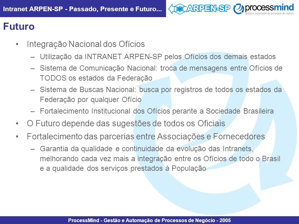 Intranet ARPEN-SP - Passado, Presente e Futuro... ProcessMind - Gestão e Automação de Processos de Negócio - 2005 Futuro Integração Nacional dos Ofíci